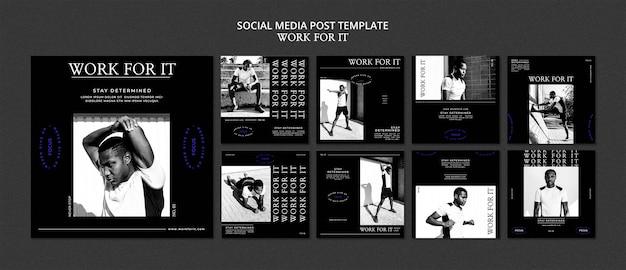 Modèle de publication sur les réseaux sociaux workout for it