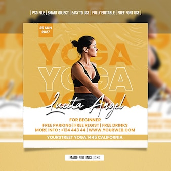 Modèle de publication sur les réseaux sociaux yoga flyer psd premium