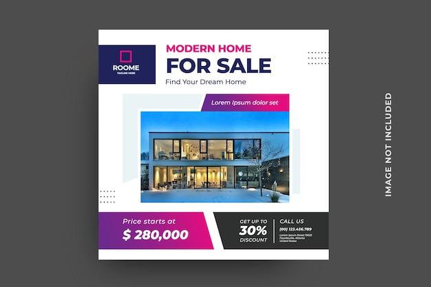 Modèle de publication sociale pour l'immobilier de marketing numérique