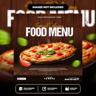Modèle de publication spéciale sur les médias sociaux pour pizza délicieuse