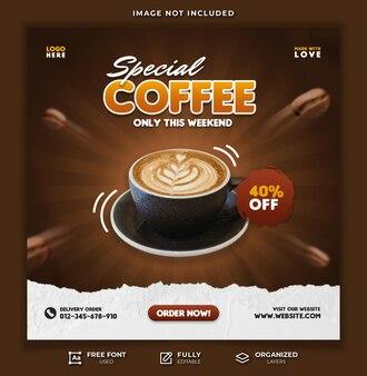 Modèle de publication spéciale sur les médias sociaux pour la vente de café