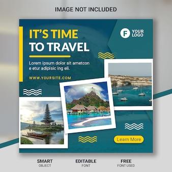 Modèle de publication de voyage sur les médias sociaux