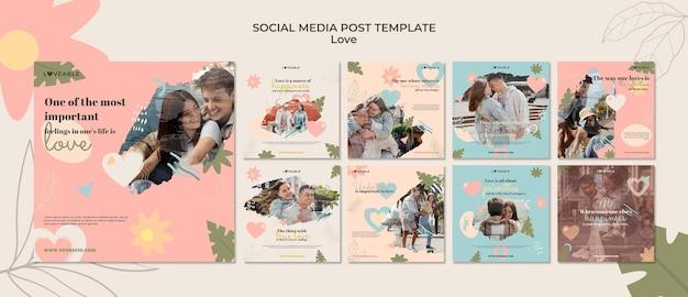 Modèle de publications instagram d'amour avec photo