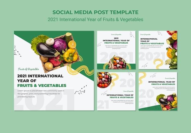 Modèle de publications instagram de l'année internationale des fruits et légumes