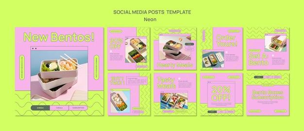 Modèle de publications instagram de boîte à bento néon