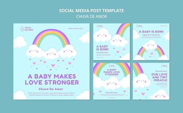 Modèle de publications instagram chuva de amor