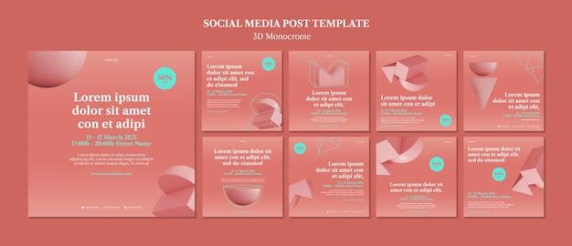 Modèle de publications instagram de formes monochromes 3d