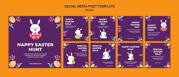 Modèle de publications instagram illustrées d'événement de pâques