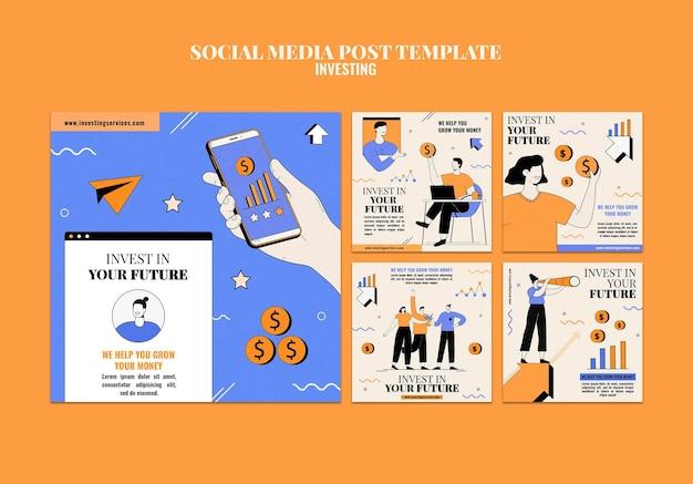 Modèle de publications instagram d'investissement illustré
