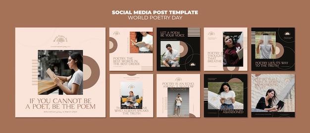Modèle de publications instagram de jour de poésie avec photo