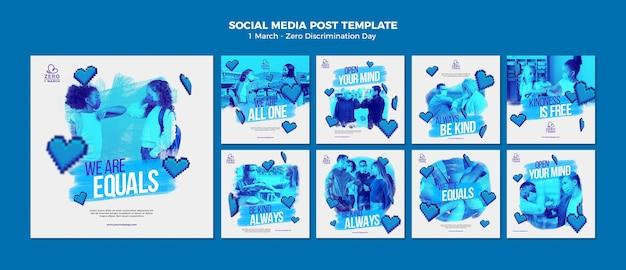 Modèle de publications instagram de jour zéro discrimination monochrome