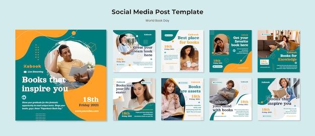 Modèle de publications instagram de la journée mondiale du livre