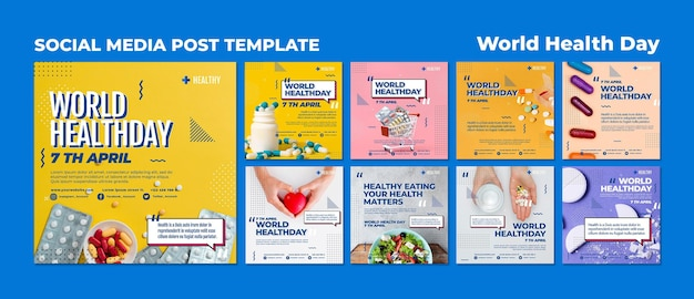 Modèle de publications instagram de la journée mondiale de la santé