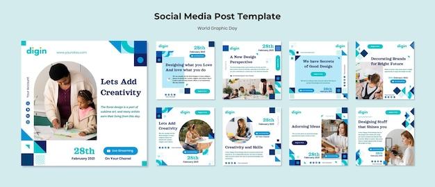 Modèle de publications instagram de la journée mondiale