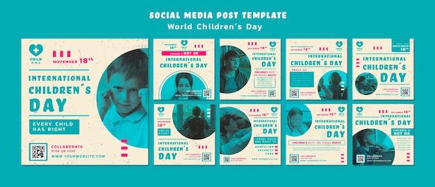 Modèle de publications instagram pour la journée des enfants