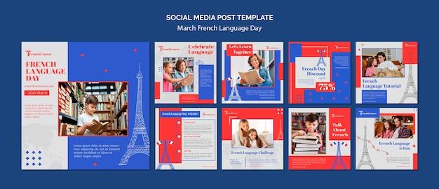 Modèle de publications instagram pour la journée de la langue française