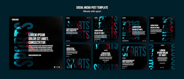 Modèle de publications instagram de publicité sportive