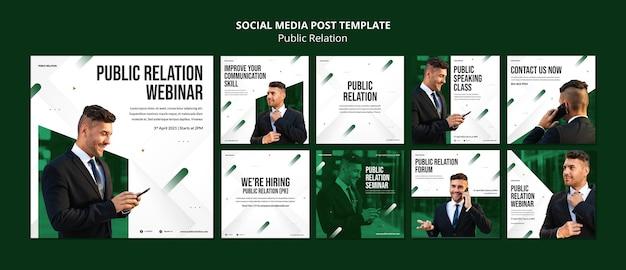 Modèle de publications instagram de relations publiques