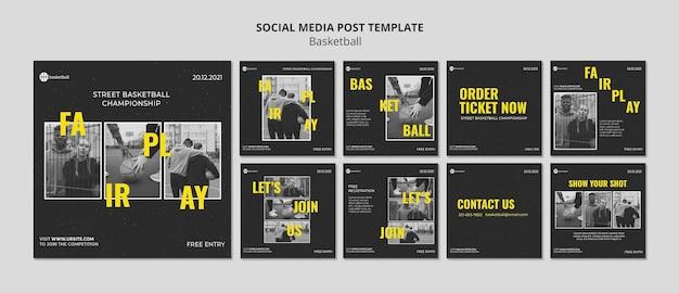 Modèle de publications sur les médias sociaux de basket-ball avec photo