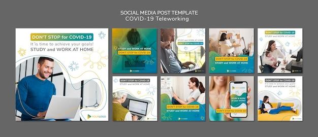 Modèle de publications de médias sociaux sur le coronavirus avec photo