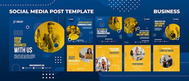 Modèle de publications sur les médias sociaux d'entreprise avec photo