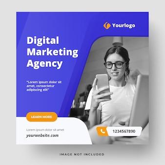 Modèle de publications sur les médias sociaux de marketing numérique d'entreprise