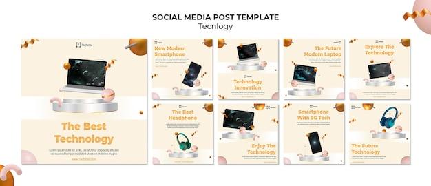 Modèle de publications sur les médias sociaux technologiques avec photo