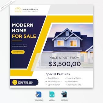 Modèle de publications sur les réseaux sociaux de conception immobilière