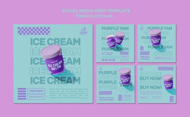 Modèle de publications sur les réseaux sociaux de crème glacée pastel