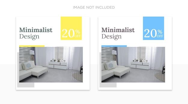 Modèle de publications sur les réseaux sociaux de design d'intérieur