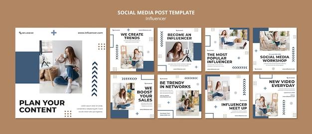 Modèle de publications sur les réseaux sociaux d'influence avec photo
