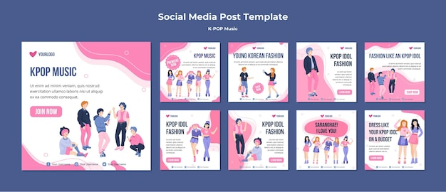 Modèle de publications sur les réseaux sociaux k-pop