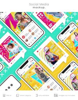 Modèle de publications sur les réseaux sociaux sur la maquette du smartphone