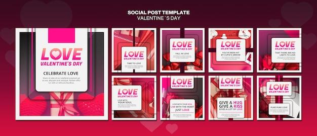 Modèle de publications sur les réseaux sociaux de la saint-valentin