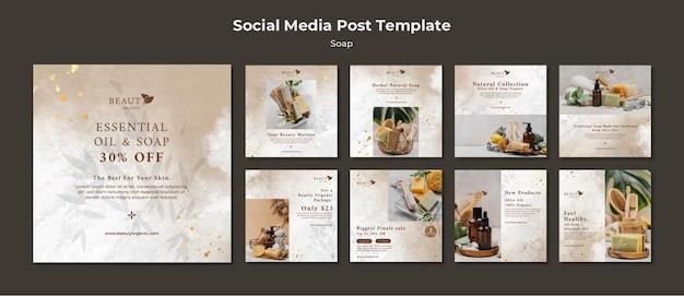 Modèle de publications sur les réseaux sociaux de savon avec photo