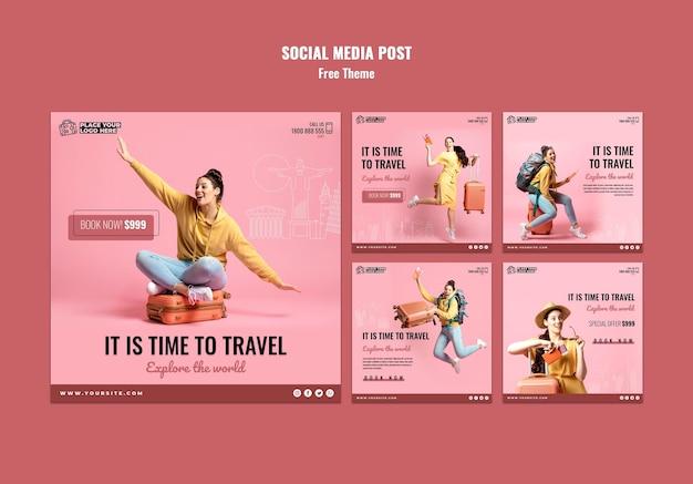 Modèle de publications sur les réseaux sociaux sur le temps de voyager
