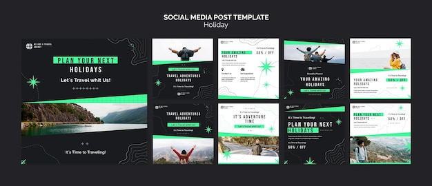 Modèle de publications sur les réseaux sociaux de vacances avec photo