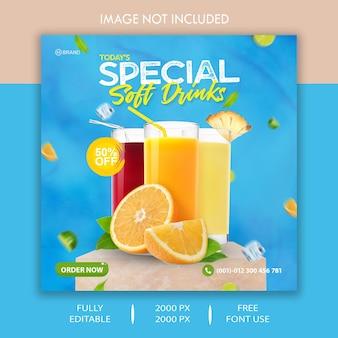 Modèle de publicité de bannière de publication de médias sociaux pour boissons non alcoolisées spéciales