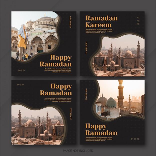 Modèle de ramadan kareem instagram post bundle
