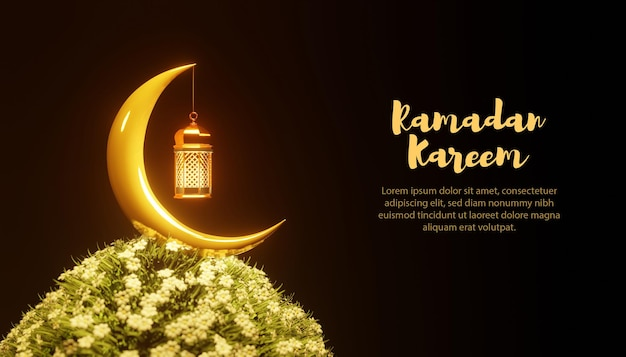 Modèle de ramadan kareem de lampe et lune 3d