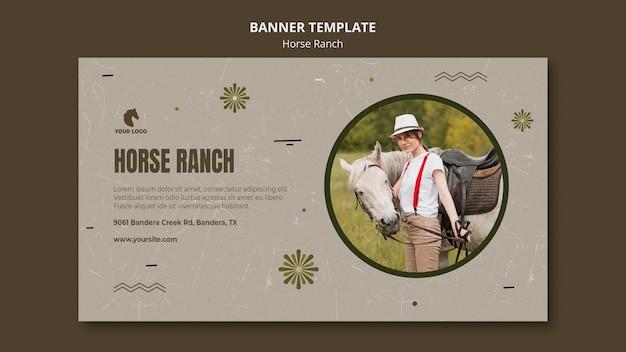 Modèle de ranch de cheval de bannière