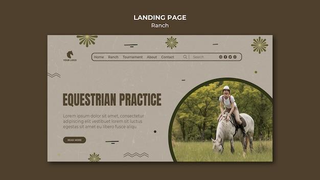 Modèle de ranch de chevaux de page de destination