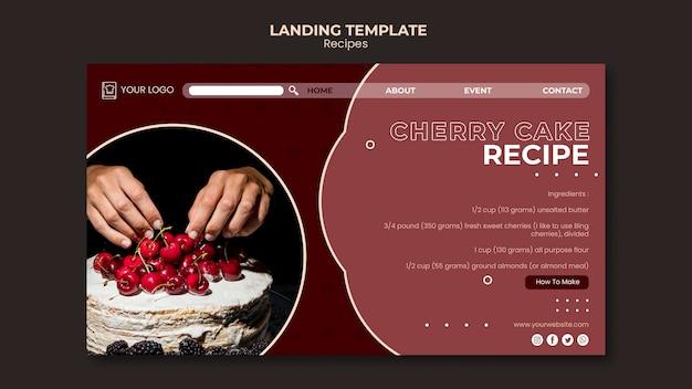 Modèle de recettes de desserts de page de destination