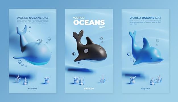 Modèle de récit sur les médias sociaux pour la journée mondiale des océans