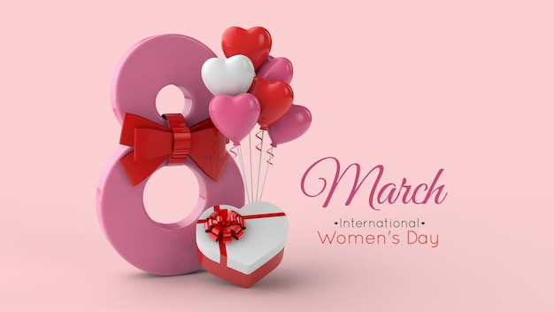 Modèle de rendu 3d de la journée internationale de la femme du 8 mars