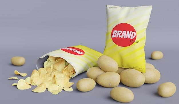 Modèle de rendu 3d de produit de pomme de terre de paquet de collation pour la conception de maquette de produit.
