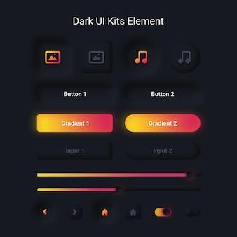 Modèle de rendu de style de néoumorphisme doux minimaliste d'élément de kits de l'interface utilisateur sombre