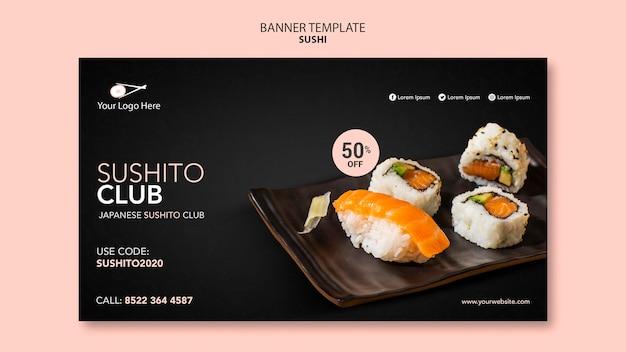 Modèle de restaurant de sushi bannière