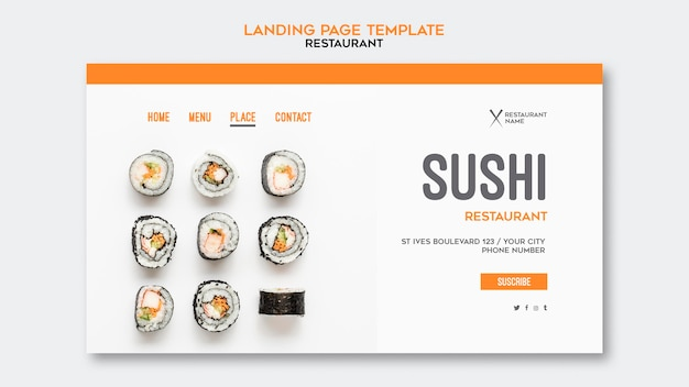 Modèle de restaurant de sushi de page d'atterrissage