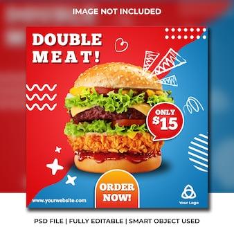 Modèle de restauration rapide des médias sociaux des restaurants fast-food bleu et rouge